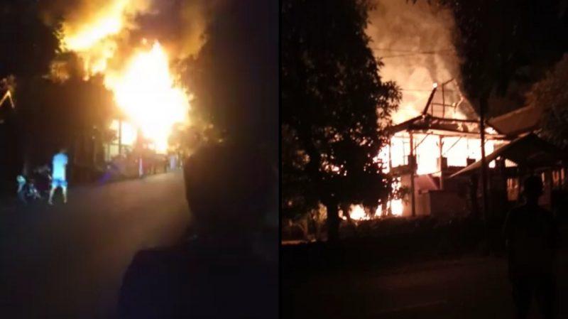 Kebakaran di Tanah Lemo Bulukumba hanguskan 2 rumah panggung milik warga, Kamis (11/6) dini hari.