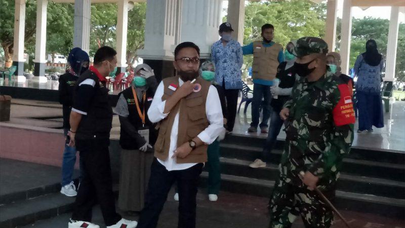 Tim Gugus Tugas Percepatan Penaganan Covid-19 Bantaeng mengunjugi kawasan kuliner Pantai Seruni. Jumat (17/7/2020).