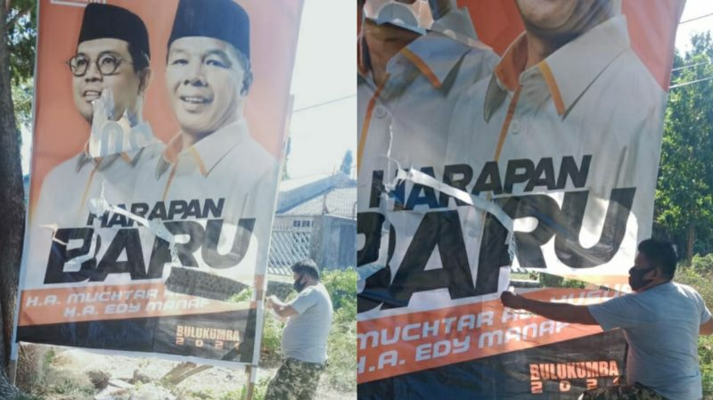 Baliho Harapan Baru di rusak OTK di Kecamatan Gantarang, Sabtu (22/8/2020).