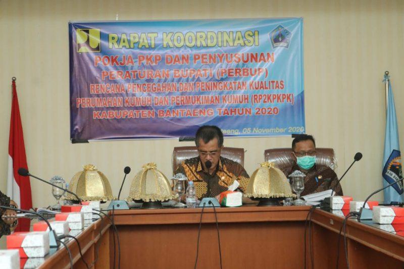 Sekretaris Daerah Bantaeng, Abdul Wahab mempin rakor Pokja PKP Penyusunan Perbup RP2KPKPK